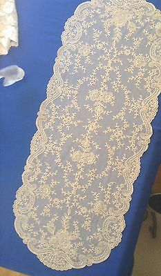 "BEAUTIFUL ANTIQUE FRENCH ALENCON NET LACE 40"" Oval LONG RUNNER (#1 Of 2)"