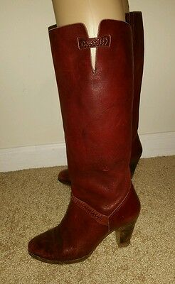 Kinney Women's Burgundy Leather Boots Vintage size 7.5