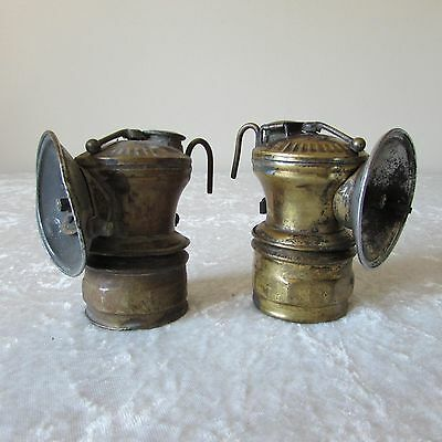 Antique - Lot of 2 - Auto Lite Carbide Miners Head Lamp Universal Lamp Co
