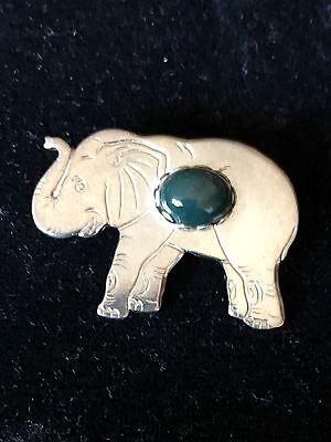 """Vintage Brooch Cute little elephant 1&1/2x1"""" pin with blue/green stone in center"""