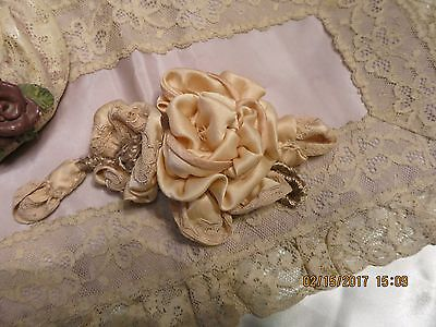 Inspired From Edwardian Fabric -Lace Silk  Satin Flower  Antique Hats Sash Pm34