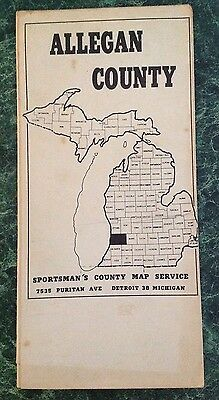 Vintage Michigan ALLEGAN COUNTY Map~Sportsmans Map Service~Old 1940s/1950s Rare