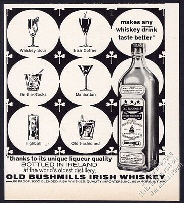 1962 Old Bushmils Irish Whiskey 6 drink glass art vintage print ad