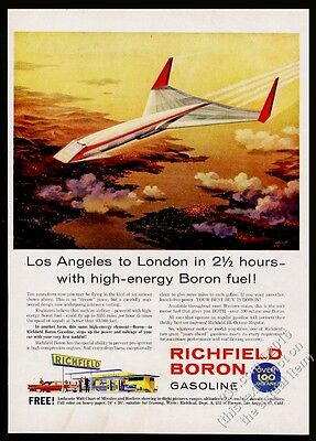 1959 COOL future SST supersonic plane sci fi art Richfield Boron gas print ad