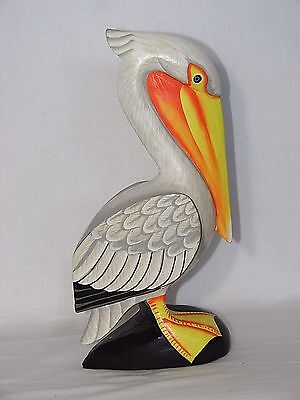 """12"""" Pelican Finely Painted Hand Carved Wood Tropical Sculpture Bird Decor"""