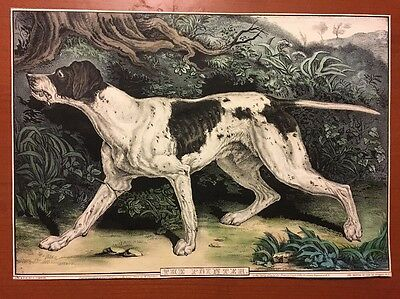 The Pointer - Antique 1848 Currier & Ives Hand-Colored Lithograph Dog Print