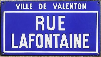 Old French enamel street sign plate road name plaque Lafontaine Valenton Paris