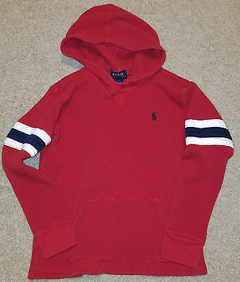 Polo Ralph Lauren Boys Thermal Hoodie Shirt 7 Red Navy Blue White