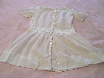 Antique 1890's Hand Crafted Victorian Little Girl's Dress/Sheer White Cotton