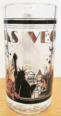 Las Vegas  Stein/mug Black & Gold Trim Glass Featuring The Casino's