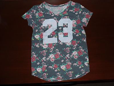 Girls MUDD Floral Sporty Distressed Tee Top Shirt Size 16 (Womens S)