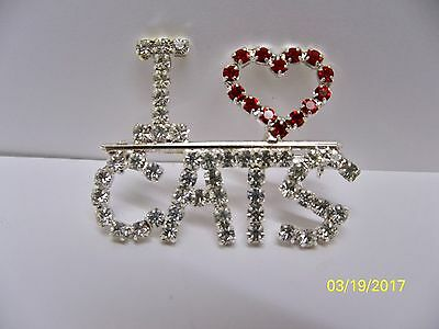 I LOVE CATS with genuine clear crystal ladies rhinestones pin or brooch NEW!
