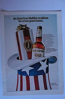 Old Crow Kentucky Straight Bourbon Whiskey Advertisement Vintage Magazine Ad 1