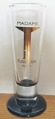 """Madame Tussauds, New York  Blue Based Gold Toned Fluted  4 1/2"""" Tall Shot Glass"""