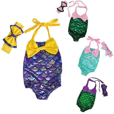 Toddler Kids Girls One-Piece Tankini Mermaid Swimsuit Swimwear Bathing Suit 2-7Y