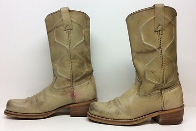 Vtg Mens Acme Cowboy Sq Toe  Leaather Man Made Greenish  Boots Size 7 D