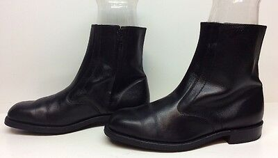 Vtg Mens Double H Steel Toe Casual Leather Black Boots Size 8.5 Ee