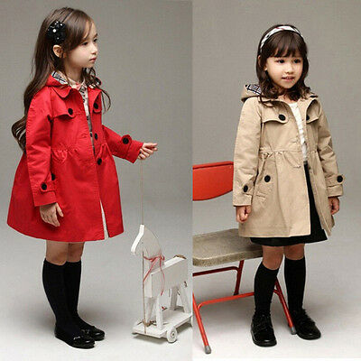 BABY Girls Kids Jacket Trench Coat Hooded Windbreaker Outerwear Parka Clothes US