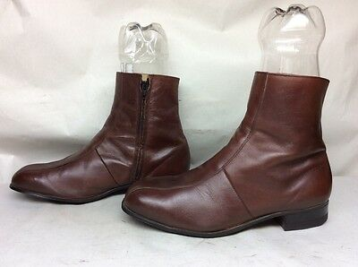 Mens Unbranded Casual Leather Brown Boots Size 11 W