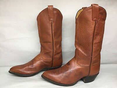 Mens Tony Lama Cowboy Leather Brown Boots Size 8 Ee