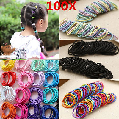 100 Mix Color Girl Elastic Rubber Hair Ties Band Rope Ponytail Holder Scrunchie