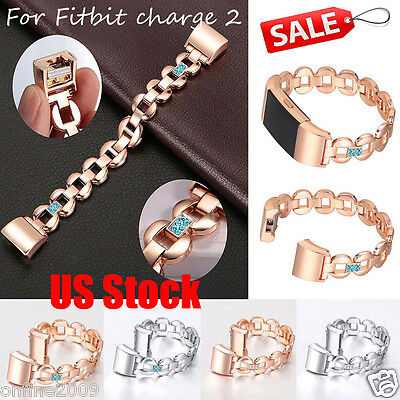 Luxury Crystal Stainless Steel Watch Band Wrist Strap Bangle For Fitbit charge 2