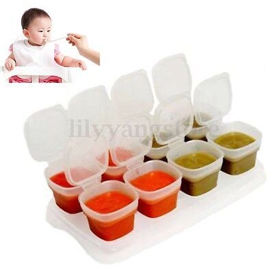 8pcs Baby Weaning Food Freezing Cubes Tray Pots Storage Containers Box BPA Free