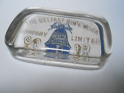 Vintage advertising glass Paperweight  The Belfast Rope Company