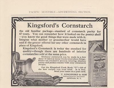 1911 T Kingsford & Son Oswego NY Ad: Standard of Cornstarch Purity for 67 Years