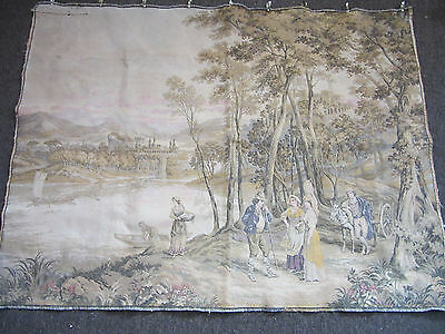 """Antique Large French Wall Tapestry Farmers In wooded area 56"""" X 41"""""""
