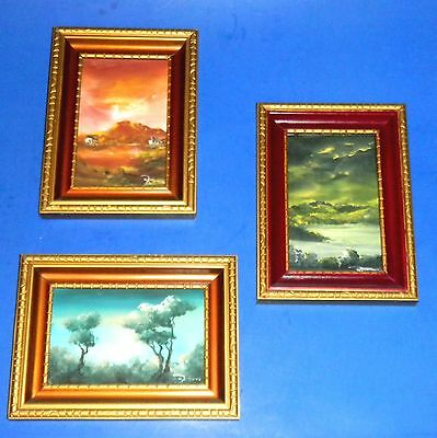 Lot of Three Beautiful Small Framed Oil Paintings made in Mexico