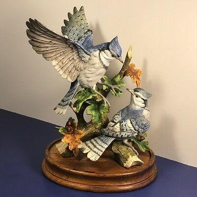 Vintage Gorham Gallery Bird Figurine Statue Sculpture Blue Jay Porcelain Mating