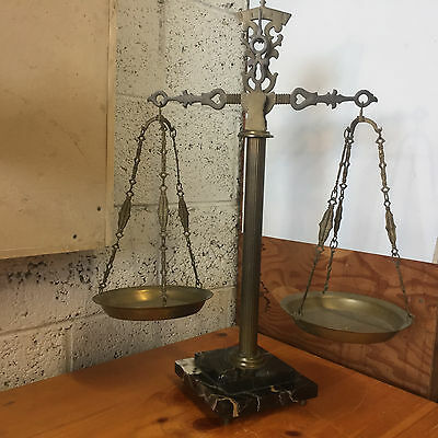 Vintage Brass Apothecary Scale W/ Marble Base
