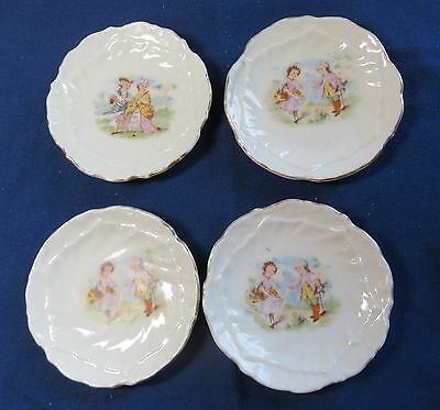 Set of 4 Antique Butter Pats with Transfer Pictures of People