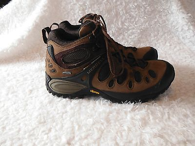 Men's Merrell, Brown Leather, Hiking, Trail, Ankle Boots, Size 8.5