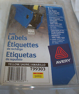 AVERY PRICING Price Gun LABELS Yellow 4 Rolls 4000 labels for 105/106/107