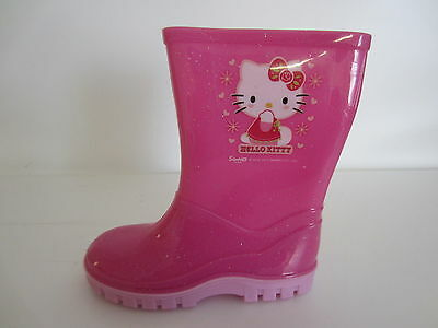 Hello Kitty Girls Pink Glitter Rubber Wellington Boot- Great Price!