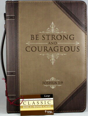 "Bible Cover Brand NEW - ""Be Strong & Courageous"" Large Antique Look Faux Leather"
