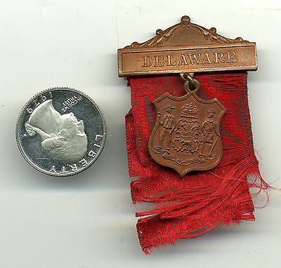 Vintage 1900S DELAWARE Coat Of Arms 1876 State Seal Badge w/Ribbon  Medal w/Pin
