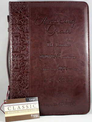 "Bible Cover Brand NEW - ""Amazing Grace"" Brown Large Faux Leather Carrying Handle"