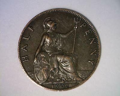 Great Britain 1902 Half-Penny Km793.2 About Uncirculated ~ 4064