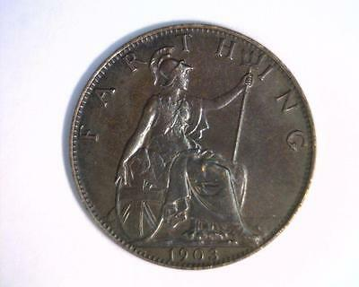Great Britain 1903 Farthing Km792 About Uncirculated  ~ 4041