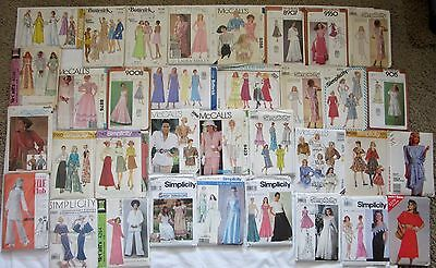 Lot Of 35 Uncut 1960's To 1980's Vintage Misses Sewing Patterns, Size Range 8-24