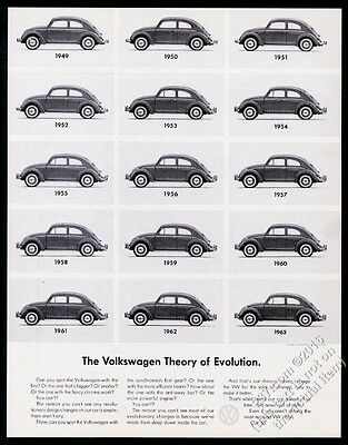 1963 VW Beetle all cars 1949-63 photo Volkswagen Theory Of Evolution print ad