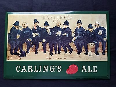 Vintage metal SIGN Carling's Ale Nine Pints' of the Law police officers