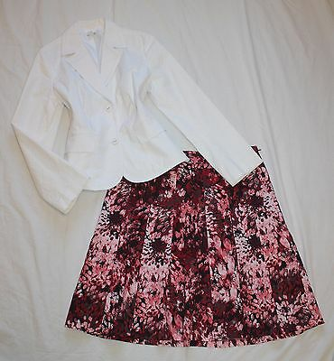 ANN TAYLOR Size 12 Women's Skirt Suit Red Black White PERFECT!