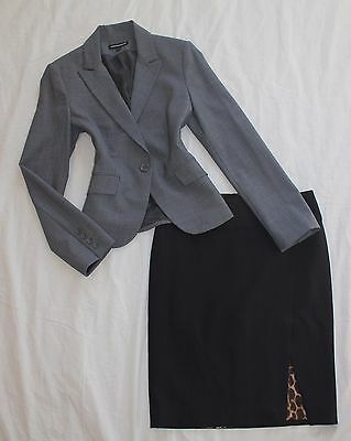 EXPRESS Size 2 Women's Skirt Suit Gray & Black PERFECT!
