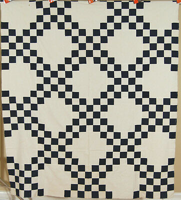 ELEGANT Vintage Indigo Blue & White 1880's Triple Irish Chain Antique Quilt Top!