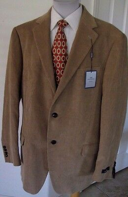 Dockers Brown Corduroy Jacket Sport Coat 44L Leather Knot Buttons NWT NEW