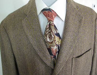 Polo by Ralph Lauren Brown Cotton Tweed Jacket Coat  Large 42R Three Button